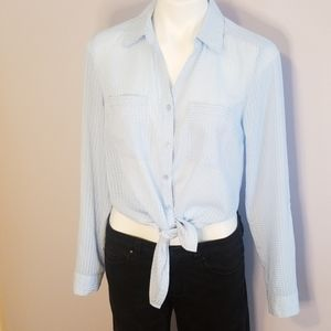 Baby blue & white NY button down shirt, size small